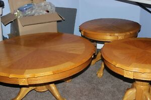 Wooden Round Coffee Table with 2 Matching End Tables