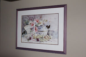 picture glass/wood framed Watercolor print