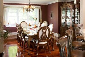 Hardwood Dining Table and 10 Chairs with Hutch