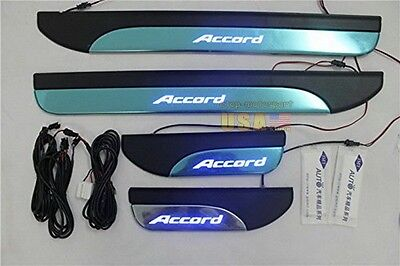 4 Door Stainless Sill Plate Guard For Honda Accord 2013-2015 Blue LED Light