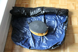 Inflatable mattress with pump for one person, used only once