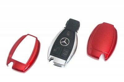 Mercedes Remote Key Cover Case Skin Shell Cap Fob Protection Bag Hull Metal. Red