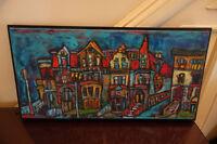Rue de Montréal Nuit - Peinture sur tissu de Karen Wilson 1999