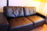Sofa simili cuir noire / Couch bonded leather black / Causeuse