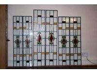 Six Matching Arts And Crafts Stained Glass Panels. Free Delivery Possible
