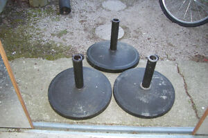 THREE HEAVY DUTY PATIO UMBRELLA STANDS