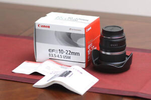 Brand new canon EF-S 10-22mm USM warranty(canon T5i/T6i/70D/80D)