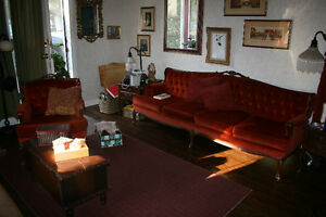 French Provincial Sofa and Chair, Antique Set