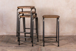 VINTAGE STYLE LAB STOOL STACKING INDUSTRIAL LOOK BREAKFAST BAR STOOL OAK TOP
