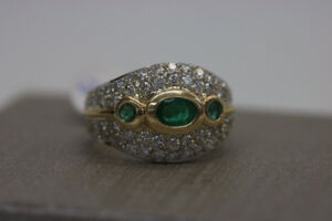 14kt White and Yellow Gold Emerald Ring (#2013)