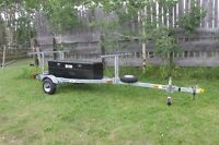 2 place canoe - 3 kayak galvanized trailer with storage box