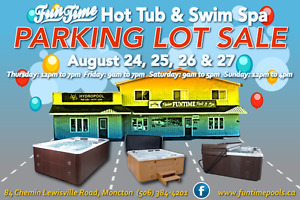 Massive parking lot sale on all hot tubs and swim spas