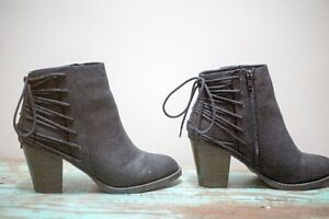 Suede lace up boot with zipper Size 9