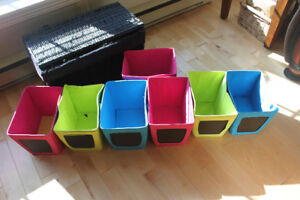 Organizing bins with chalk board front in fun bright colours