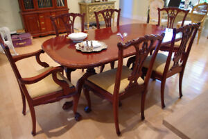 """74"""" Genuine Mahogany Chippendale Dining table with 6 chairs"""