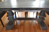 Handcrafted solid pine trestle table