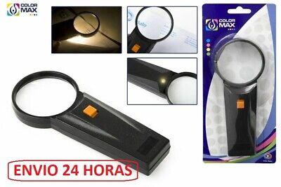 Lupa de mano con Luz 65mm diametro Pilas incluidas AUMENTO MONEDAS SELLOS...