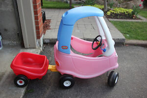 Little Tikes Pink Cozy Coupe Car with Infant Insert and Trailer