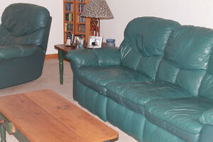 Leather sofa and lazy boy $150.00 for both pieces
