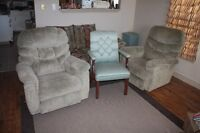 Sofa couch ,2 recliner chairs,1 living room chair