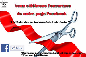 Promotion ouverture page Facebook 15% de rabais **