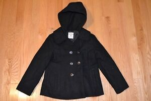 Girl Black Pea Coat Size 6-7 (Like New Condition)