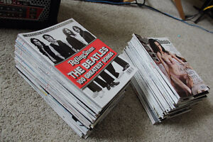 A whole bunch of rolling stone magazines