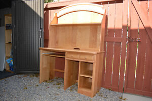 Child/youth computer/study desk/hutch - solid wood, great shape