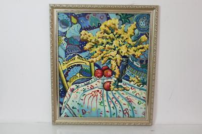Expressionismus Ölgemälde Interieur Blumen Obst mit Bilderrahmen