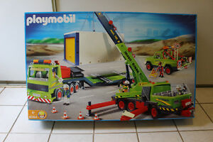 Playmobil crane with truck and trailer