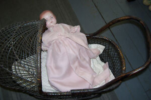 1800s PLASTER DOLL WITH PERIOD WICKER DOLL CARRIAGE London Ontario image 7