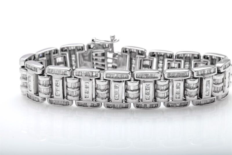 """Designer $20,000 20ct Baguette Diamond 14k White Gold Fancy Link Bracelet 8"""" 65g"""