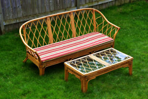 Vintage 1960 Bamboo Sofa and Table Indoor/ outdoor Furniture
