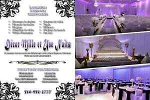 Decor mariage housse de chaises nappe chemin de table centre arc West Island Greater Montréal image 3
