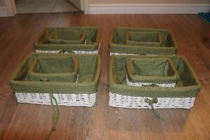 WILLOW BASKET WITH LINING (4 SMALL AND 4 LARGE)