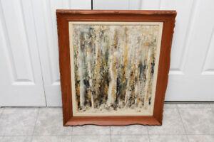 Tableau abstrait signé MORIN avec cadre en bois