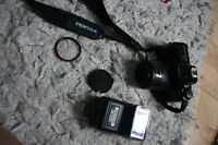 Non digital PENTAX camera along with the flash