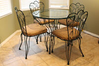 Rod Iron Glass Top Dining table With 4 Chairs