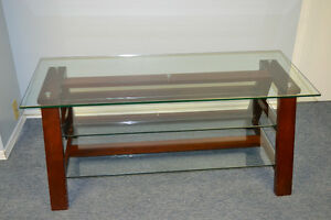 MODERN ENTERTAINMENT TV CONSOLE STAND W/ GLASS SHELF