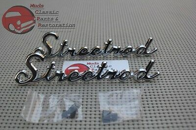 Ford Chevy Pickup Truck Custom Streetrod Script Emblems Pair Rat Rod Dodge Olds