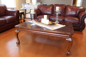 Real leather & real wood Sofa + love seat - CALL 902-877-7575