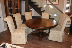 Custom Oak Dining Set with Cabinets