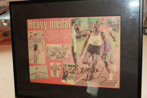 olympic collectable, signed Donovan Bailey framed pic.