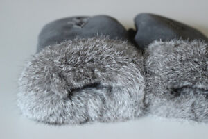 Fur and Suede/Leather mittens : NEW in box, with tags