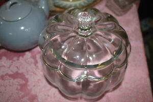Glass Pumpkin Shaped Cookie / Candy / Storage Jar