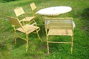 Mid Century Hollywood Regency Bamboo Patio Table & Chair Set Belleville Belleville Area image 5