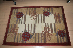 AREA RUG - LADYBUGS AND FLOWERS -  plus ACCENT MAT