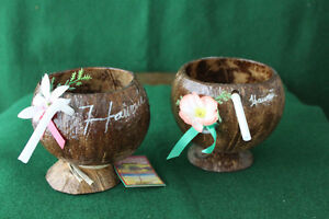 Hawaiian Coconut Glasses (two of them)