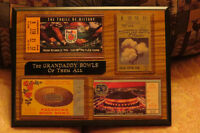 """The Grandaddy Bowls of Them All"" - 4 framed ticket stubs"