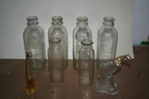 Old Glass Milk Bottles and Avon Cologne Bottles